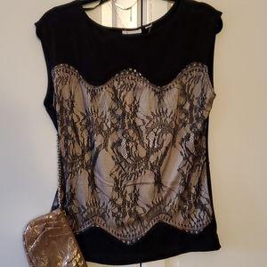 New York & Co Black lace blouse